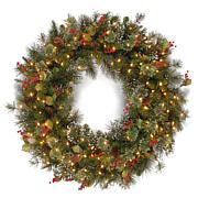 Wintry Pine Wreath with Clear Lights