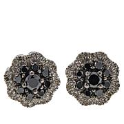 .50ctw Colored and White Diamond Cluster Sterling Silver Stud Earrings