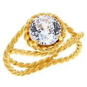 Absolute™ Gold-Plated Cubic Zirconia 120-Facet Round Rope Ring