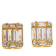 Absolute™ Gold-Plated Emerald-Cut and Round Stud Earrings