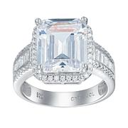 Absolute™ Sterling Silver Emerald-Cut and Pavé Halo Engagement Ring