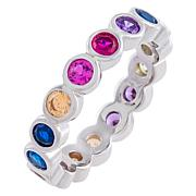 Absolute™ Sterling Silver Rainbow Bezel-Set Eternity Ring