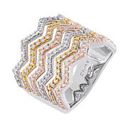 Absolute™ Tricolor Sterling Silver Round Stone Chevron Ring