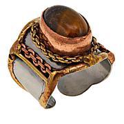 Anju Simulated Tiger's Eye Tri-Tone Oval Adjustable Ring