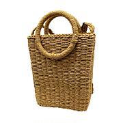 Anna Cai Circle Handle Straw Crossbody Bag