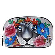 Anuschka Hand-Painted Leather Zippered Cosmetic Pouch