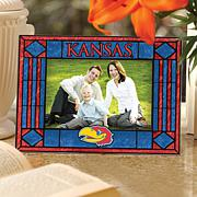 Art Glass Horizontal Picture Frame - Kansas University