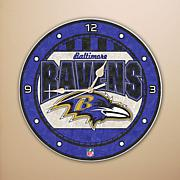 Art Glass Wall Clock - Baltimore Ravens