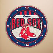 Art Glass Wall Clock - Boston Red Sox