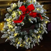 """As Is"" American Tree & Wreath 26"" Flocked Color-Changing Wreath wi..."