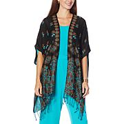 """""""As Is"""" Colleen Lopez Reversible Jacquard Ruana"""