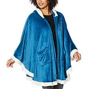 """""""As Is"""" Warm  & Cozy Hooded Zip-Front Angel Wrap with Sherpa Trim"""