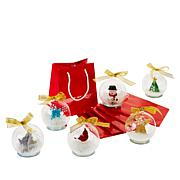 """""""As Is"""" Winter Lane 6-pack Illuminated LED Glass Globes with Gift Bags"""