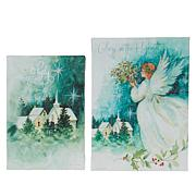 """As Is"" Winter Lane Set of 2 Evergreen Angel Mini Fiber-Optic Canva..."
