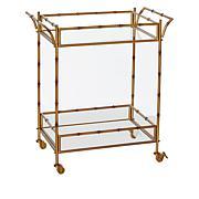 august & leo Bamboo Bar Cart with Glass Shelves