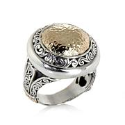 Bali Designs 2-Tone Hammered Round Dome Ring