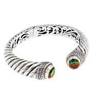 Bali Designs 2-Tone Watermelon Quartz Doublet Cable-Twist Cuff Brac...