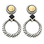 Bali Designs Black Spinel 18K Gold Dome Drop Earrings