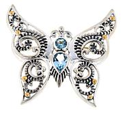 Bali Designs Sterling Silver Multi-Gem Butterfly Scroll Pendant