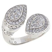 Bali RoManse Sterling Silver Cubic Zirconia Pear-Shaped Bypass Ring