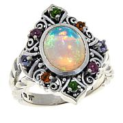Bali RoManse Sterling Silver Opal and Multi-Gemstone Ring