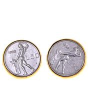 Bellezza 50 Lira Coin Bronze Stud Earrings