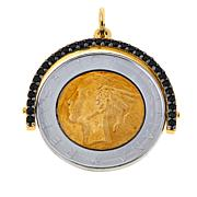 Bellezza 500 Lira Coin Black Spinel Bronze Flip Pendant