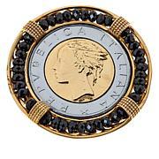 Bellezza 500 Lira Coin Bronze Black Spinel Brooch