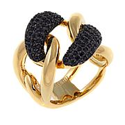 Bellezza .62ctw Black Spinel Bronze Curb Link Ring