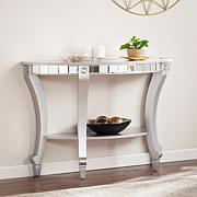 Bridgette Glam Mirrored Demilune Console Table