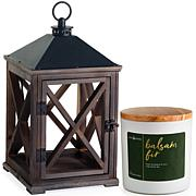 Candle Warmers Espresso Wooden Lantern and Candle
