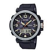 Casio Pro Trek Men's Triple Sensor Solar-Powered Black Resin Watch