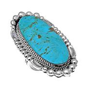 Chaco Canyon Elongated Oval Kingman Turquoise Statement Ring