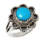 Chaco Canyon Sterling Silver Sleeping Beauty Turquoise Flower Ring