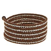 Chan Luu Sterling Silver Bead Leather Wrap Bracelet