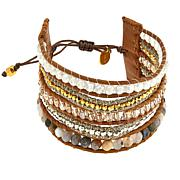 Chan Luu White Quartz and Mixed Stone Multi-Row Cuff Bracelet