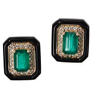 Cirari 14K Gold Emerald, Onyx and Diamond Earrings