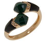 Cirari 14K Gold Malachite, Onyx and Diamond Bypass Ring