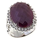Colleen Lopez 18.16ctw Indian Ruby and White Topaz Ring