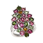 Colleen Lopez 4.25ctw Multicolor Tourmaline Cluster Ring