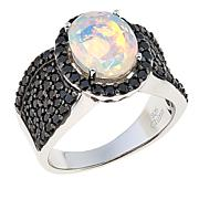 Colleen Lopez Faceted Ethiopian Opal and Black Spinel Ring