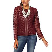 Colleen Lopez Modern Mesh Faux Leather Leaf Jacket
