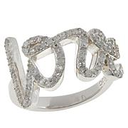"Colleen Lopez Sterling Silver .54ctw Diamond ""Love"" Ring"