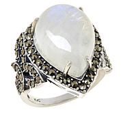 Colleen Lopez Sterling Silver Moonstone and Marcasite Ring