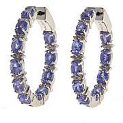 Colleen Lopez Tanzanite and White Zircon Inside-Outside Hoop Earrings