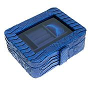 Colleen's Prestige™ Croco-Embossed Blue Travel Jewelry Box