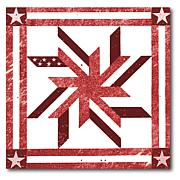 """Courtside Market Quilt Square Red & White 3 Canvas Wall Art - 16 x 16"""""""