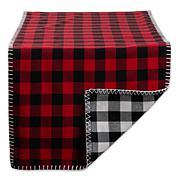"Design Imports 14""x72"" Christmas Buffalo Check Reversible Table Runner"
