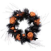 Design Imports Black Halloween Wreath with Pumpkins