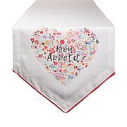 """Design Imports Bon Apetit Sleur Heart Print Table Runner - 14"""" x 72"""""""